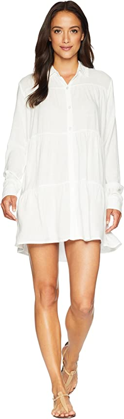 Summertime Shirting Tiered Button Tunic Cover-Up