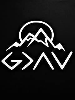 Chase Grace Studio God is Greater That Highs and Lows Christian Mountains Vinyl Decal Sticker|White|Cars Trucks SUVs Vans Laptops Walls Glass Metal|6.5
