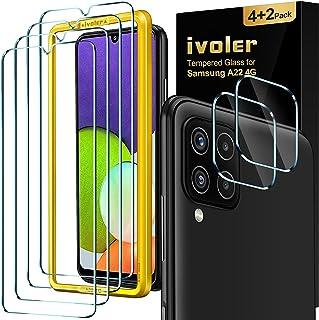 ivoler Skärmskydd kompatibelt med Samsung Galaxy A22 4G, 4-pack härdat glas och 2-pack kameralinsskydd – med bubbelfritt e...