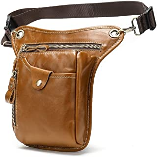 Well-Made Men's PU Material Pockets Multi-Function Sports Belt Bag Outdoor Practical Leg Bag Function Leather Motorcycle Bag Size 12.5 * 3.2 * 17CM Dynamic (Color : Brown)