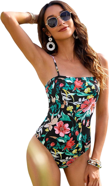 WDIRARA Women's Floral Print Spaghetti Strap Skinny Casual Cami Bodysuit