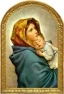 Cuadro madera Virgen Maria con Niño, La Zingara del Pintor italiano FERRUZZI. Madera tabla 28x18,5x1, Alta decoración, se ...