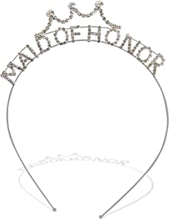 Sparkling Crystal Bachelorette Bridal Party Bride, Maid of Honor, Bridesmaid Novelty Tiara Headband Accessory for Women