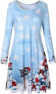 Viracy Womens Christmas Dress Long Sleeve Flared Swing Tunic Dress