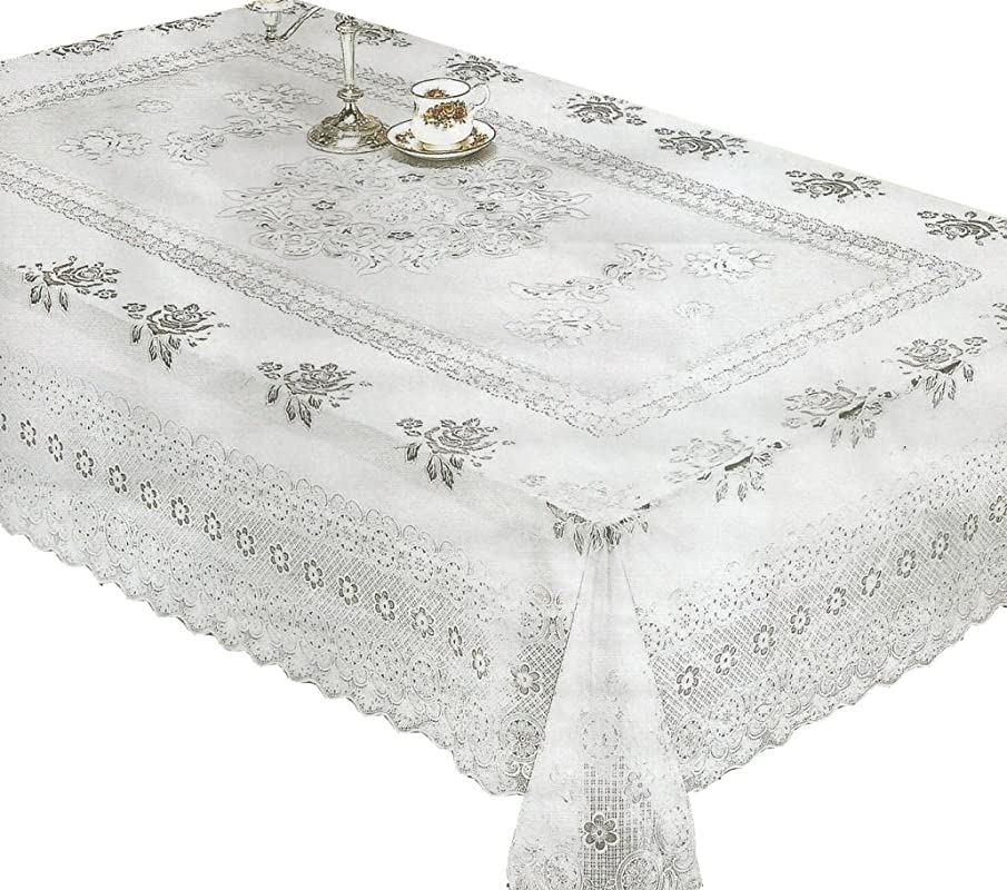 RJ Quality Product 856b 60x90 Lace Vinyl Tablecloth 60 X 90 White