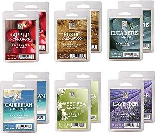Hosley Set of 12 Assorted Wax Cubes Melts Tarts 2.5 Ounce Each. Apple Cinnamon Caribbean Breeze Eucalyptus Mint Lavender F...