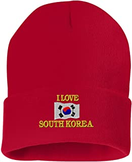 I LOVE SOUTH KOREA Custom Personalized Embroidery Embroidered Beanie