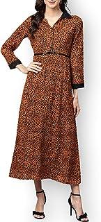 Zima Leto - Maxi abito da donna con cintura con stampa animale marrone