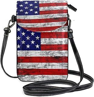 ZZKKO Mini-Umhängetasche mit amerikanischer USA-Flagge, Vintage-Stil, Retro, Umhängetasche, Handy, Geldbörse, Tasche, Hand...