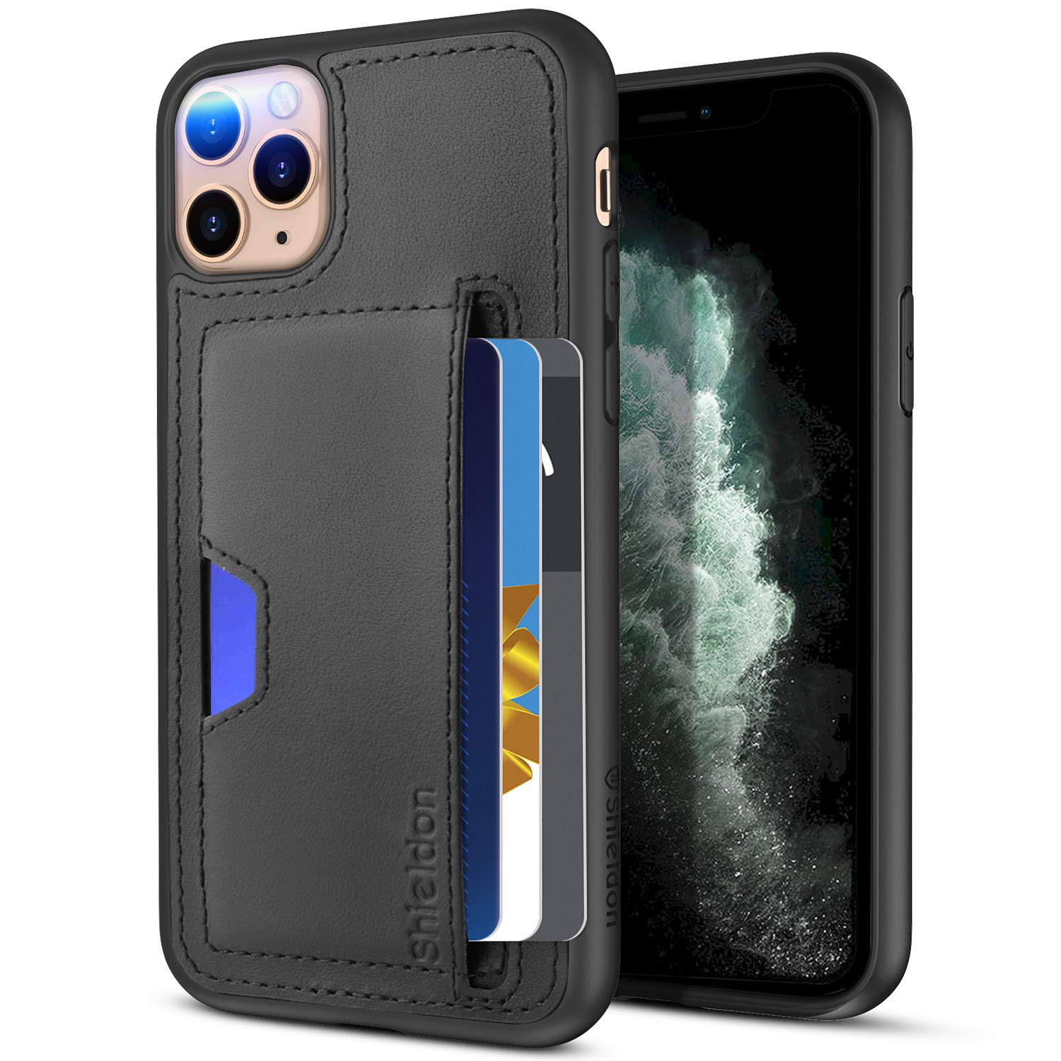 SHIELDON iPhone 11 Pro Case Genuine Leather iPhone Wallet Case RFID Protective Card Holder Folio Magnetic Stand Cover Compatible with iPhone 11 Pro - Black 5.8 Inch - 2019