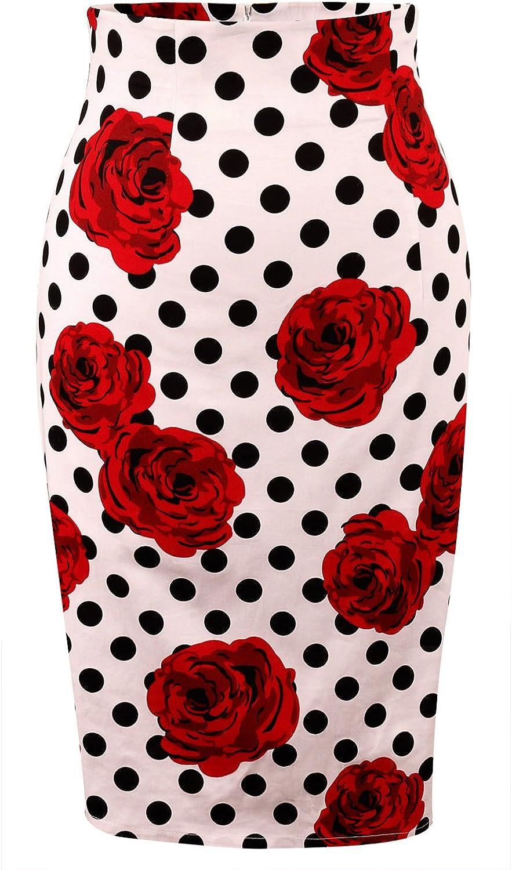 Daonanba Women's High Waisted Knee Length Bodycon Slim Office Wear Pencil Cotton Mini Skirts