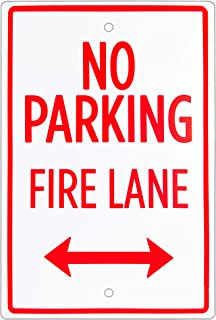 "No Parking – Fire Lane Sign – 18"" x 12"" Aluminum Safety Warning Sign with Bidirectional Arrow – Easy Mount, Pre-drilled Re..."