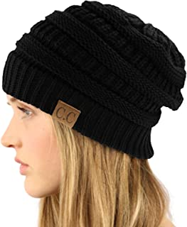 Unisex Winter Chunky Soft Stretch Cable Knit Slouch Beanie Skully Hat Black
