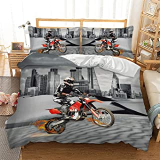 Bedding Sets Queen Size,3 Piece Motocross Racer Extreme Sports Theme 3D Printed Duvet Cover Sets with Pillowcases for Teens Boys Girls Bedroom Decorative,No Comforter