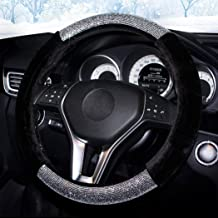 Labbyway Diamond Short Plush Fluffy Steering Wheel Cover, with Bling Bling Crystal Rhinestones for Winter Warm, Universal ...