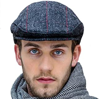 Charcoal Gray Tweed Flat Cap, Made in Ireland