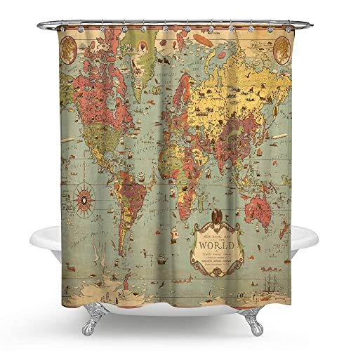 KISY Old World Map Waterproof Bath Shower Curtain Ancient Shabby Chic Compass Nautical Historical Educational