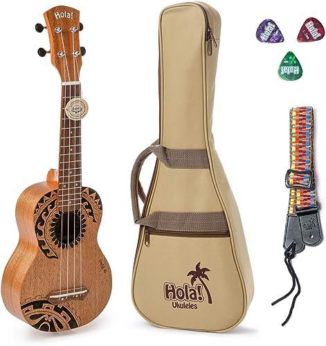 Hola! Music HM-121TT+ Laser Engraved Mahogany Soprano Ukulele Bundle with Aquila Strings, Padded Gig Bag, Strap and P...