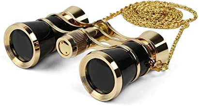 Kingscope 3X25 Vintage Opera Glasses Binoculars for Theater Musical Concert (Black, with Chain)