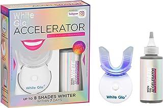 کیت سفید کننده دندانهای شتاب دهنده White Glo با نور LED برای دندانها و لثه های حساس - آنزیم های کاربامید پراکسید ، پاپایا و آناناس برای بهترین نتایج سفید شدن دندان - 10 دقیقه تایمر