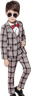 Boy's Check Tuxedo Suit Set 3 Pcs Morden Fit Dress Suit Set Formal Jacket Vest Pants 2T-12Y
