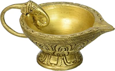Exotic India Puja Puja Diya with Elephant Handle (Price Per Pair) - Brass Sculpture