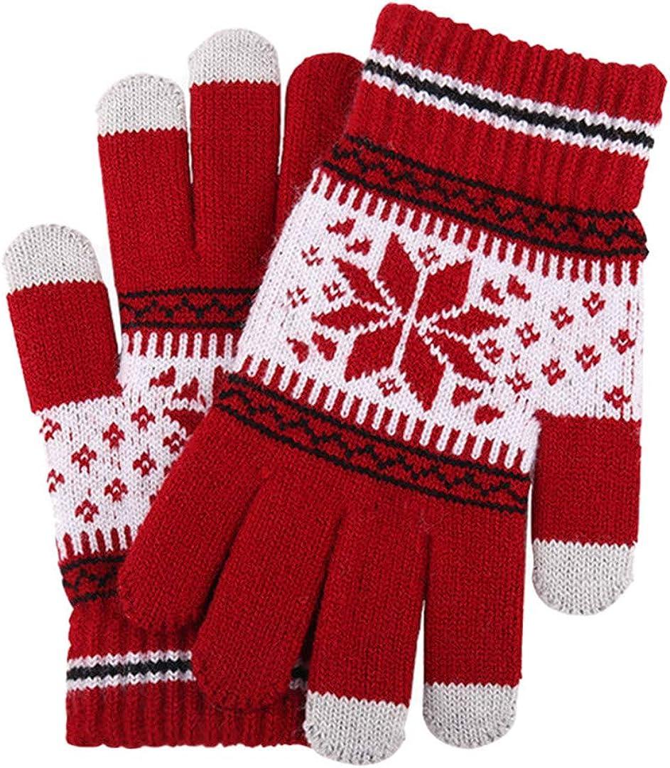 Touch Screen Knitted Gloves Men Women Thicken Wool Mitten Outdoors Anti-Slip Warmer Couple Gloves red