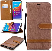 YUELIJIN for Huawei Honor 7C / Enjoy 8 / Nova 2 Lite / Y7 2018 / Y7 Prime 2018 Case Cover, Premium PU Leather BookStyle Wallet Case with Viewing Stand and Flip Shockproof Anti Brown
