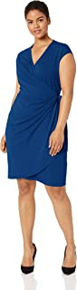 Amazon Brand - Lark & Ro Women's Plus Size Classic Cap Sleeve Wrap Dress