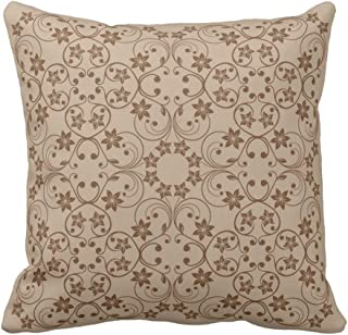 Floral Design Khaki Two Tone Flower Pattern Throw Pillow Case Cover Home Office Decorative Square For Living Room Sofa, 20X20 Inch