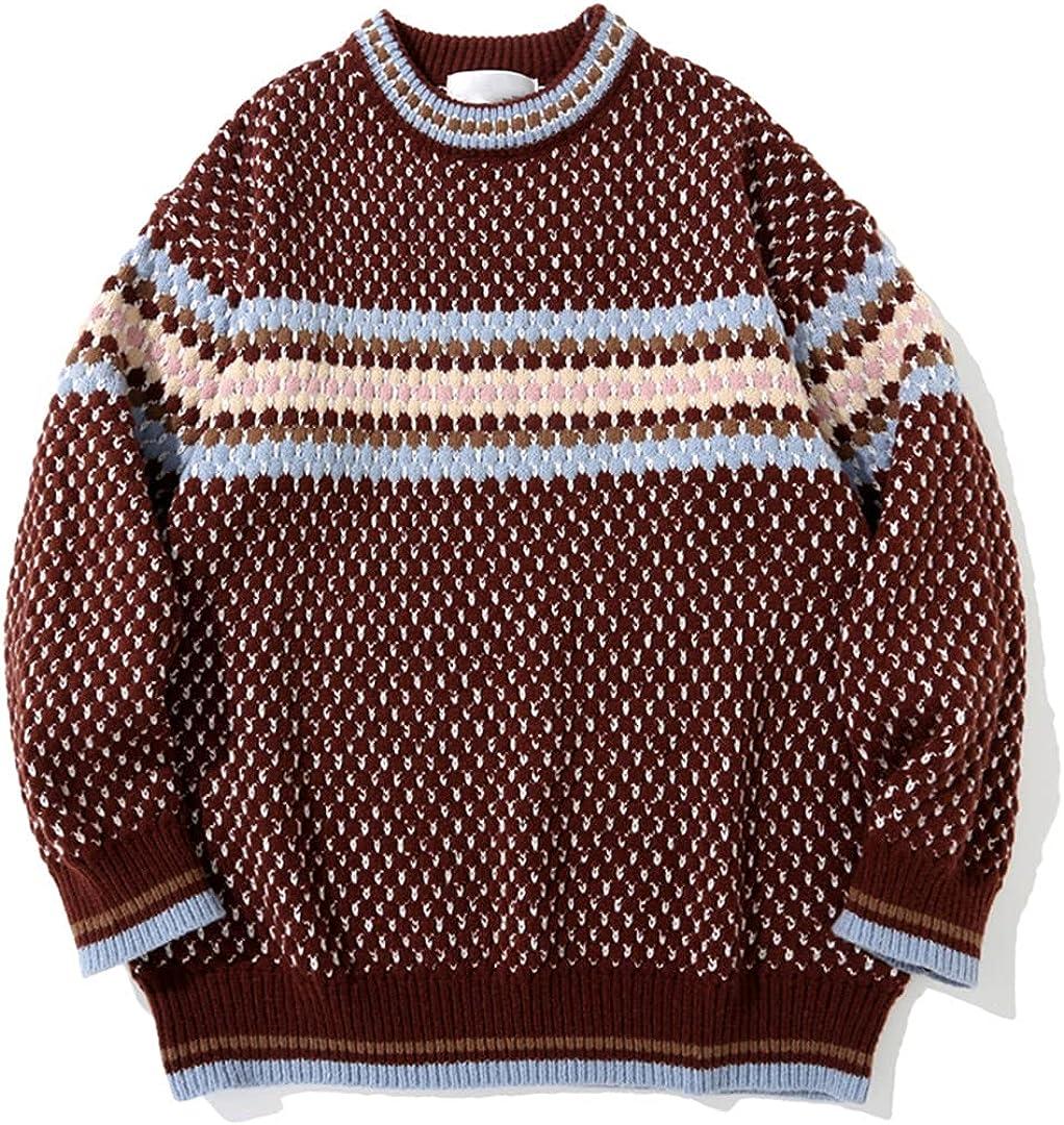 Men Color Sweater Streetwear Autumn Winter Casual Pullover Tops Couple Sweater