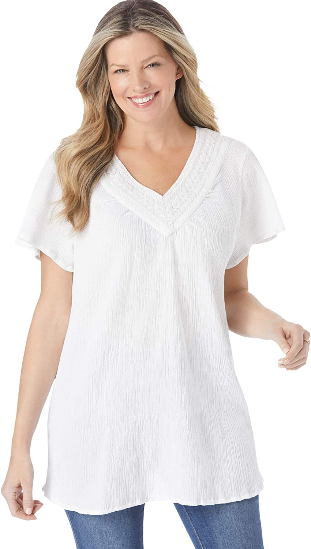 Woman Within Women's Plus Size Crochet V-Neck Tunic - 30/32, White