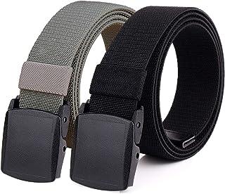 "Hoanan 2-Pack Elastic Stretch Belt, Men's All Size No Metal Nylon Tactical Hiking Belt (Blackgrey, Fit up to 36"")"