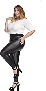 Women's Faux Leather Leggings Plus Size Girls High...