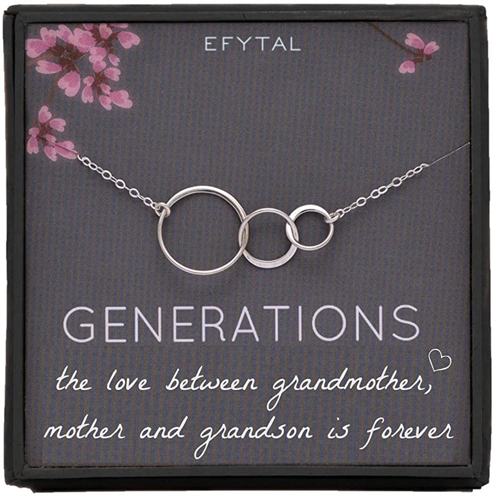 EFYTAL Gifts for Albuquerque Animer and price revision Mall Grandma 925 3 Interlocking Cir Sterling Silver