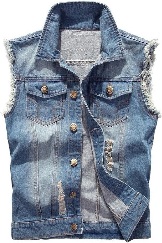 Elonglin Men Denim Vest Sleeveless Jeans Jacket Casual Ripped Vintage Cowboy Vest
