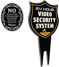SignDuty 24 Hour Video Security System DiBond Metal Yard Sign + No Soliciting Door Sign w/Double Sided mounting Strip- Surveillance Camera Warning Sign for Home & Business