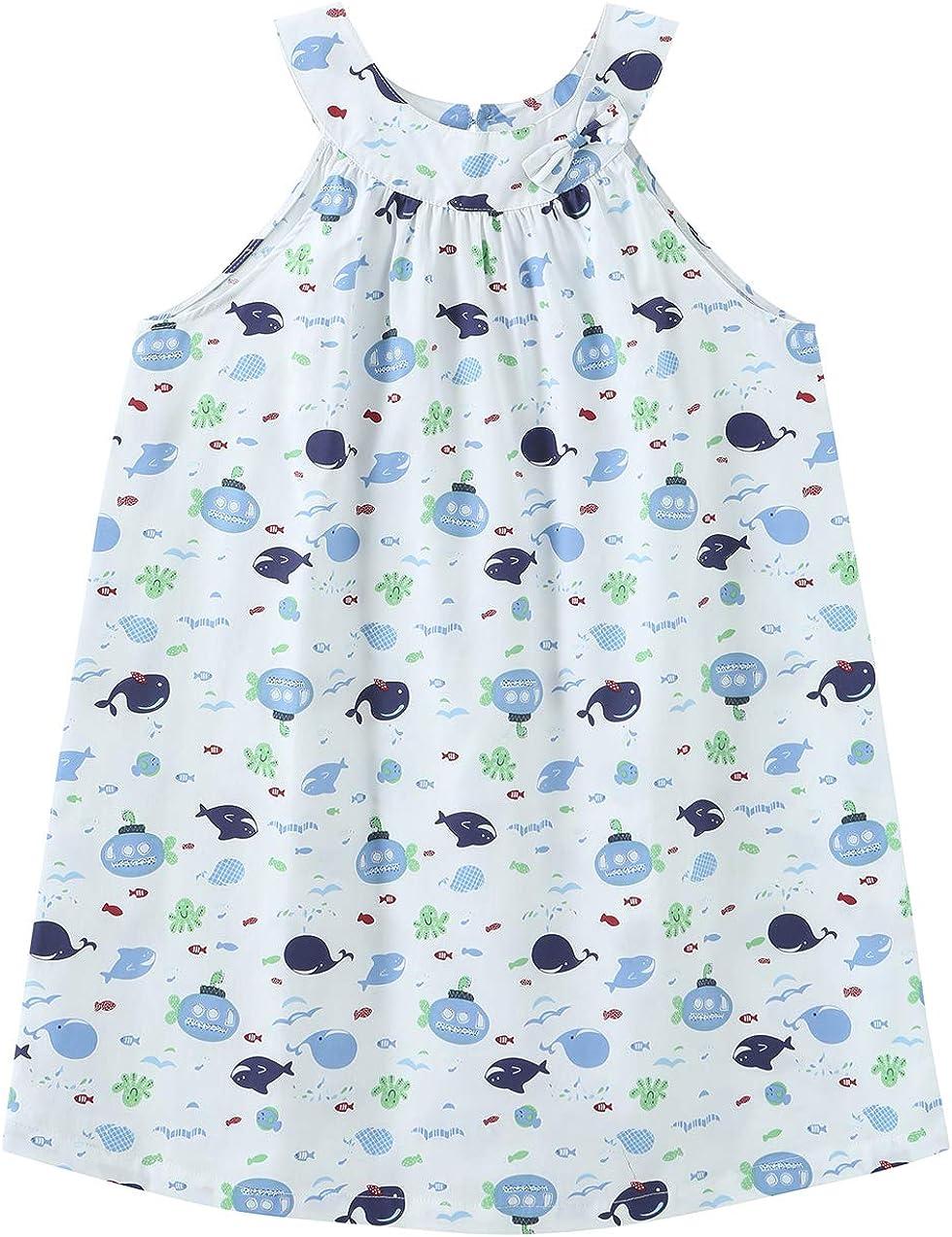 Lavenderi Toddle Kids Girls 100% Cotton Sleeveless Nightgown, Nightdress for Girls (Size 2 Toddler-14 Years)(Fish Print,4T)