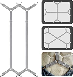 ACEDÉCOR Bed Sheet Fasteners Suspenders Clips, Adjustable Crisscross Bed Corner Straps Grippers Holders Hold Sheet on The ...