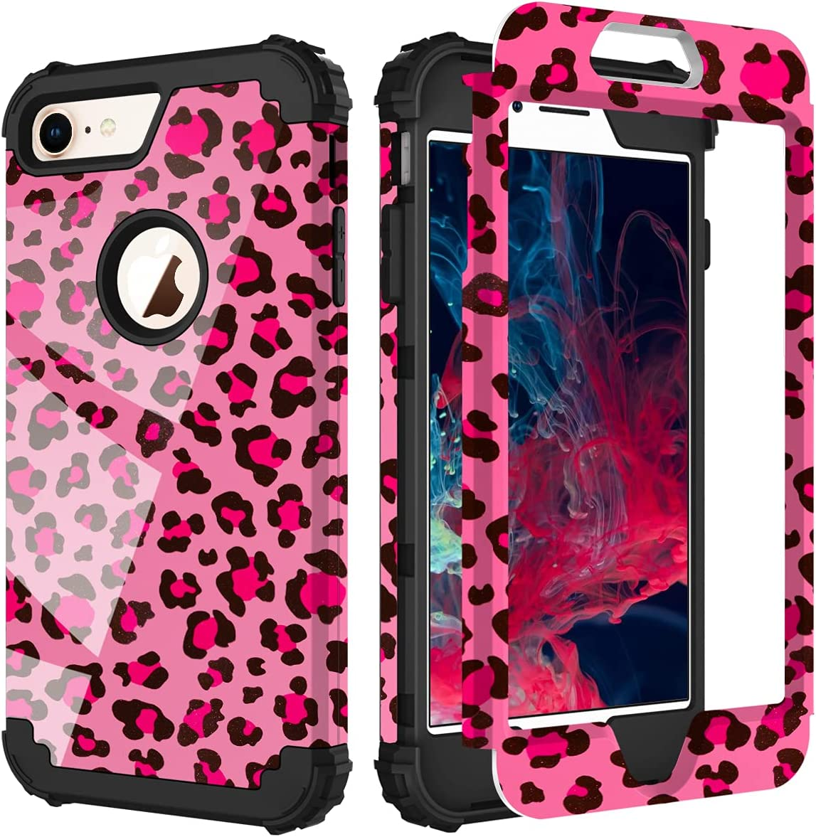 PIXIU Compatible with iPhone 8 Plus Case/iPhone 7 Plus case, Three Layer Heavy Duty Hybrid Sturdy Armor Shockproof Protective Phone Cover Cases for Apple iPhone 8 Plus/7 Plus(Leopard)