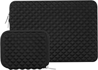MOSISO Laptop Sleeve Compatible with 13-13.3 inch MacBook Pro, MacBook Air, Notebook Computer, Diamond Foam Neoprene Bag Cover with Small Case, Black