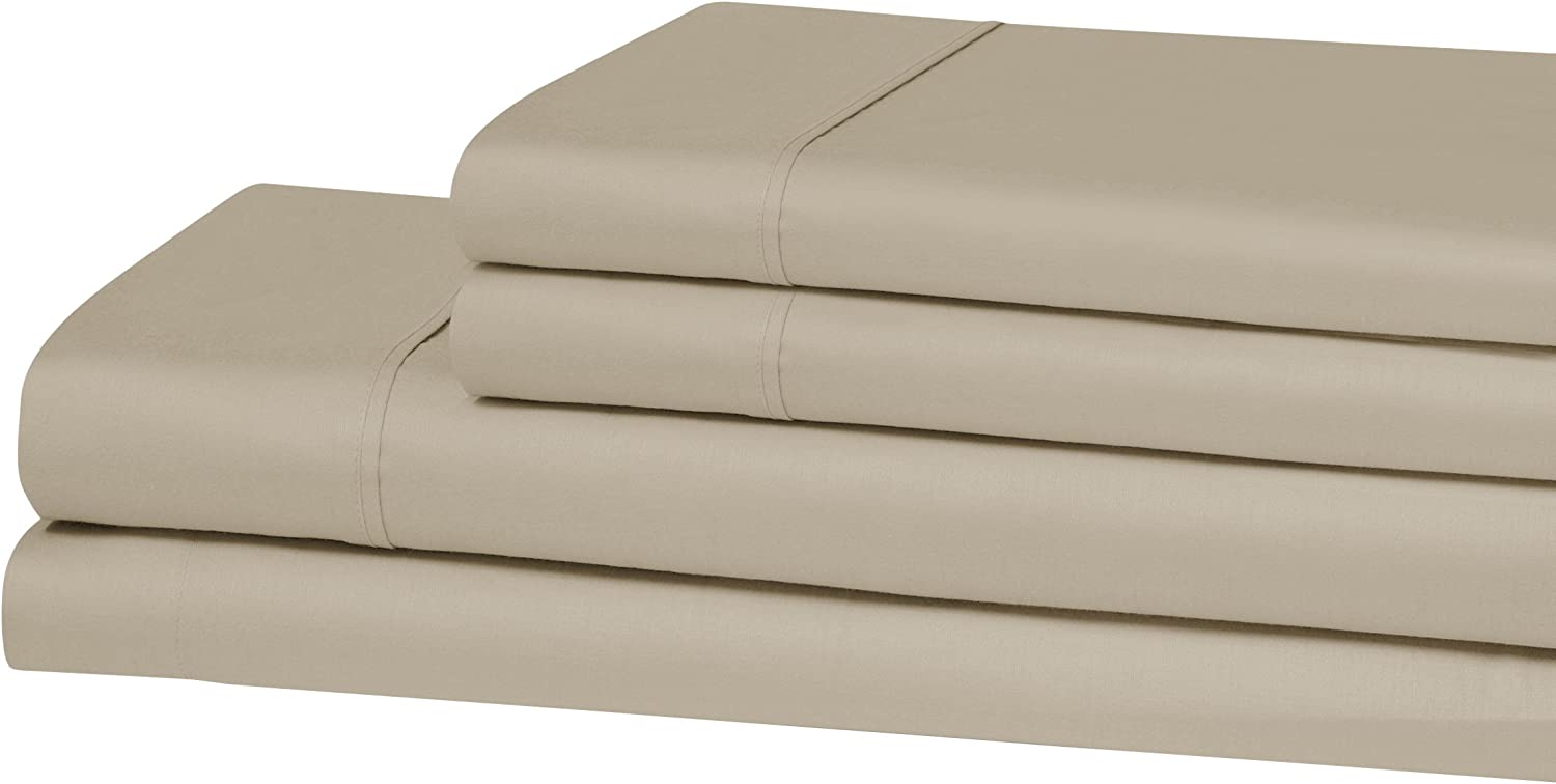 Superior 300 Thread Count, 100% Cotton Antimicrobial Twin Sheet Set, Tan