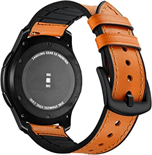 Compatible with Samsung Galaxy Watch 46mm Band, Gear S3 Bands Aottom [22MM] Soft Leather Silicone Band Stainless Steel Bracelet Wristband for Gear S3 Frontier/Classic/Moto 360 2nd Gen 46mm