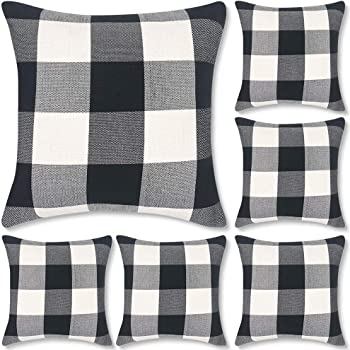 """Decorbay Buffalo Check Plaid Throw Pillow Covers 18x18, Farmhouse Square Decorative Pillow Covers for Home Decor (Black and White, 6 Pack 18""""x18"""")"""