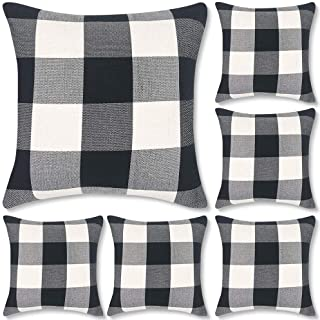 Decorbay Set of 6 Buffalo Check Plaid Throw Pillow Covers 18×18, Farmhouse Square..