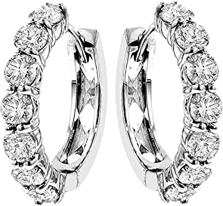 3.00 CT TW Large Diamond Hoop Earrings in 14k White Gold