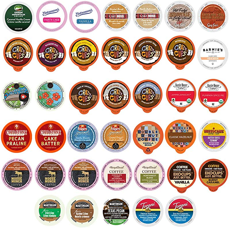 Crazy Cups Custom Variety Pack Flavored Coffee Single Serve Cups For Keurig Kcups Brewers 40 Count Premium Sampler