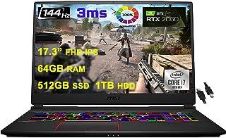 2021 Flagship MSI GE75 Raider ゲーミングノートパソコン 17.3インチ FHD IPS 144Hz 3ms 100% sRBG 第10世代 Intel 6-Core i7-10750H 64GB RAM 512GB...