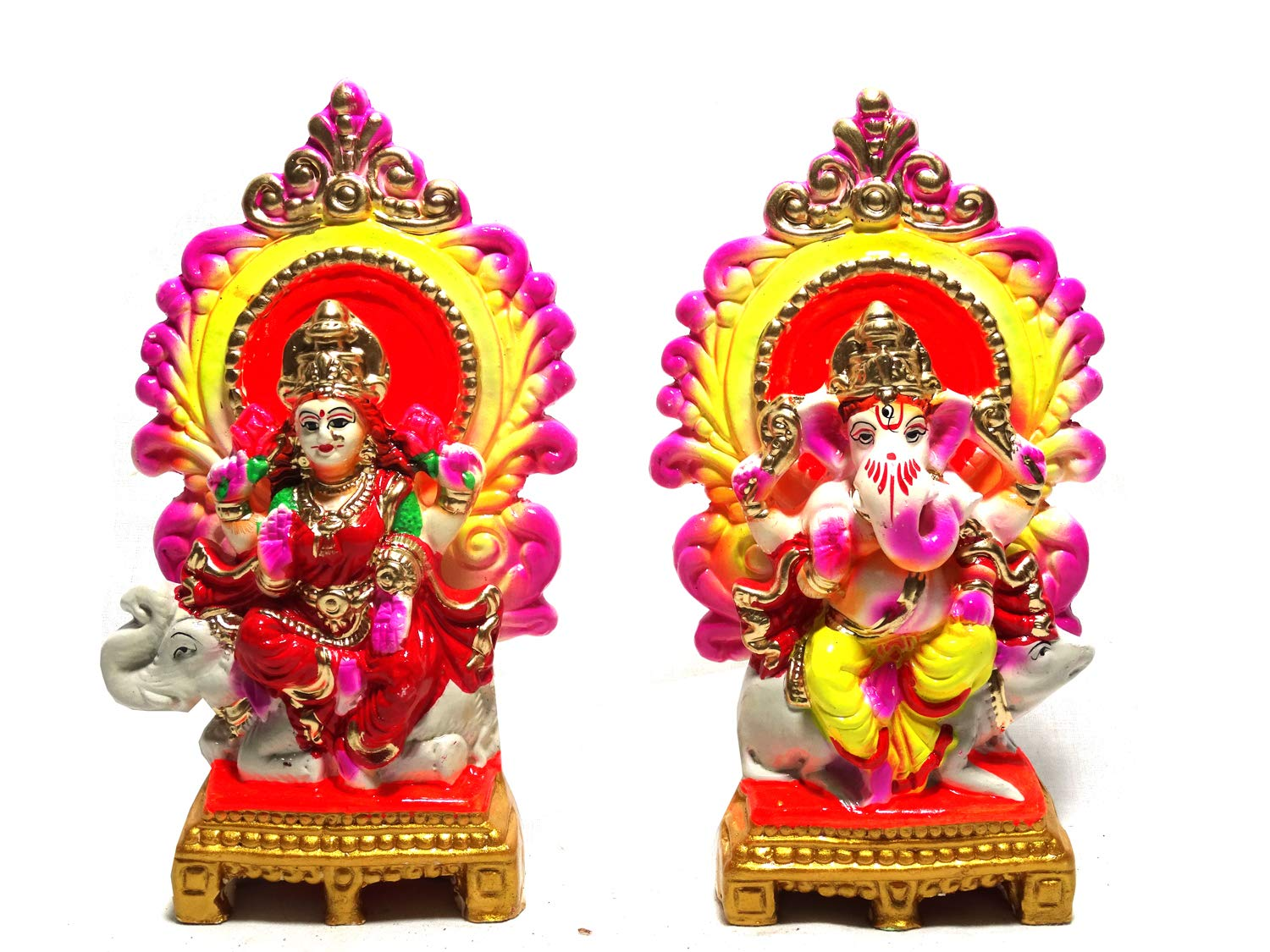 Buy Vinayaks Terracotta Clay Laxmi Ganesh Murti Idol Of Clay Mitti For Diwali Puja Lakshmi On Elephant And Ganesh A On Rat With Aasan Size Lxbxh 4x10x17 Cm Each Online At Low