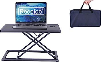 "Rocelco 19"" Portable Laptop Riser, Height Adjustable Travel Standing Desk Converter, Premium Compact Sit Standup Keyboard ..."